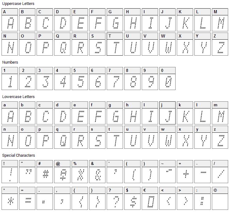 Alpine 7558M Font Character Map