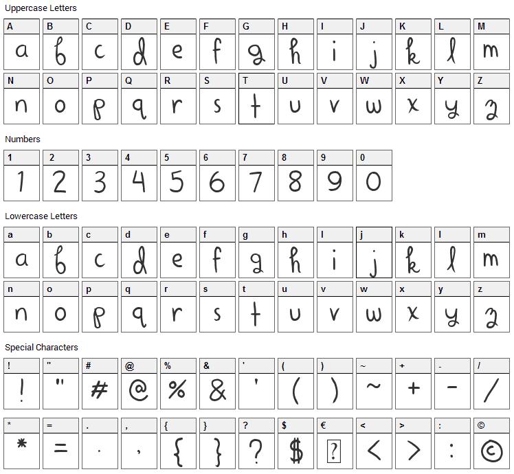 Alright Scrapbooky Font Character Map
