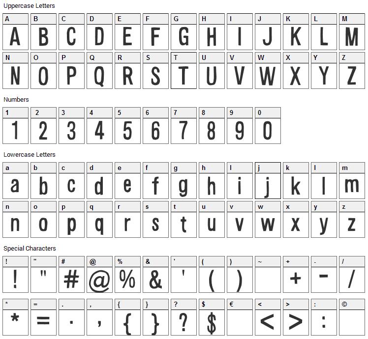 Alsina Font Character Map
