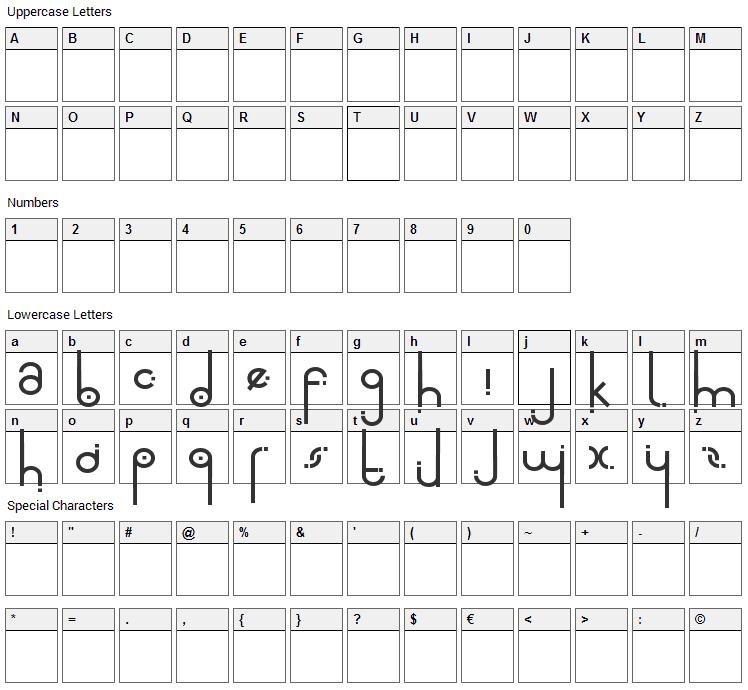 Alta Font Character Map