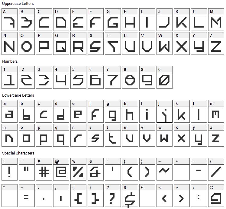 Altera Font Character Map