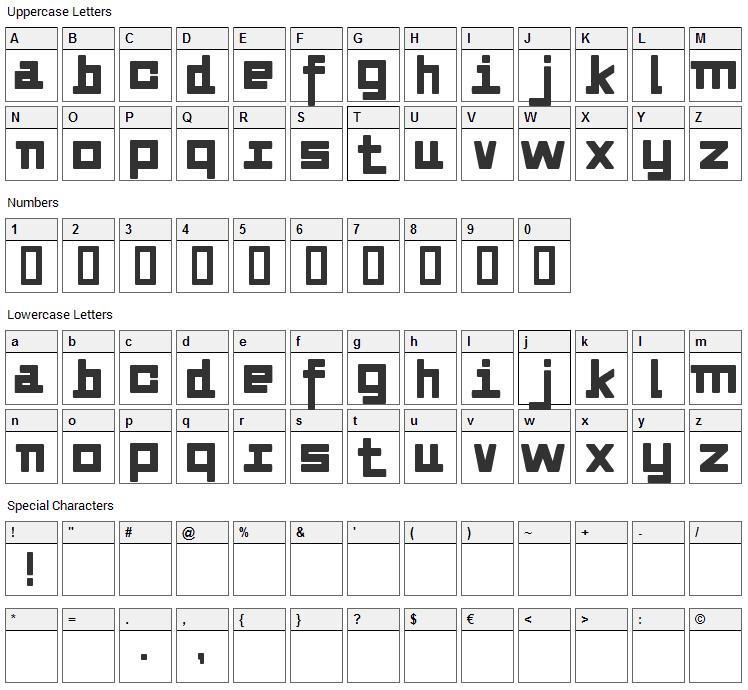Alvedon Font Character Map