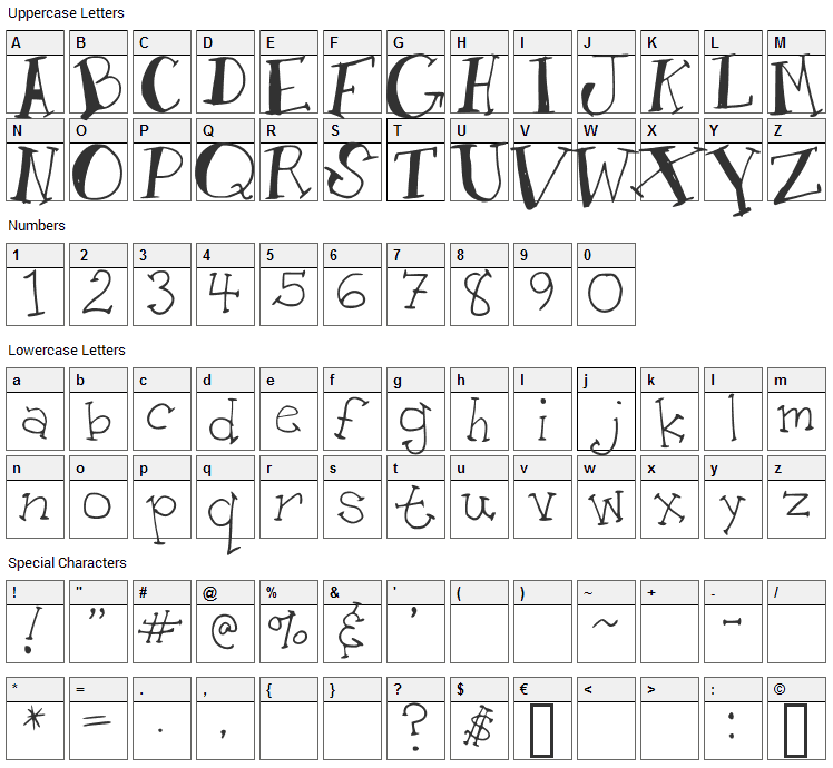 AM Toon Font Character Map