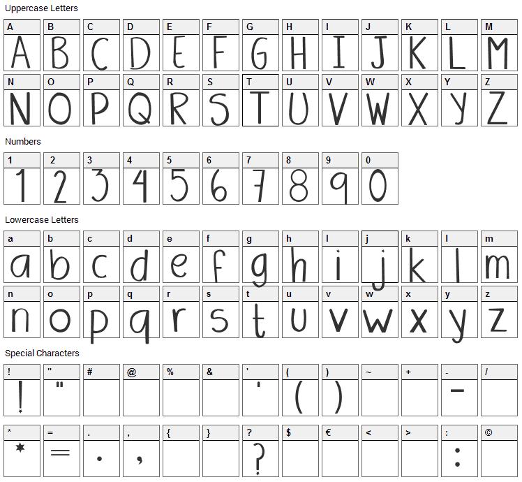 Amanda Font Character Map