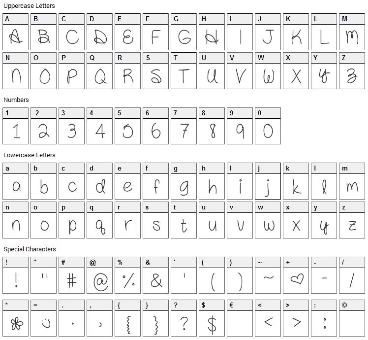Amanda Rae Font Character Map