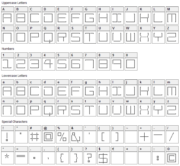 Amaya Technical Font Character Map