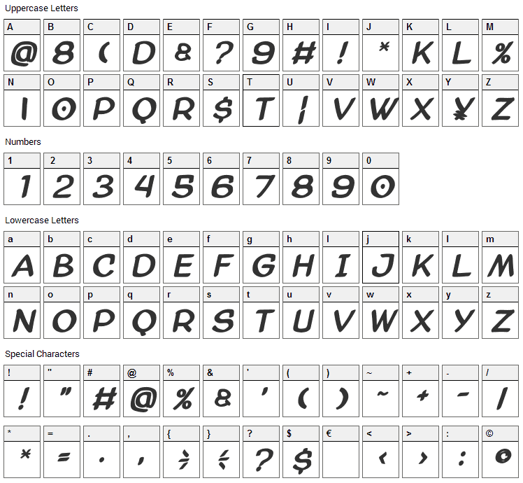 AmazGoDa Font Character Map