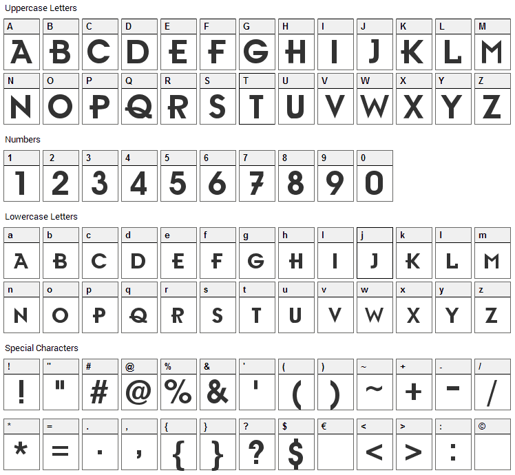 Ambient Font Character Map