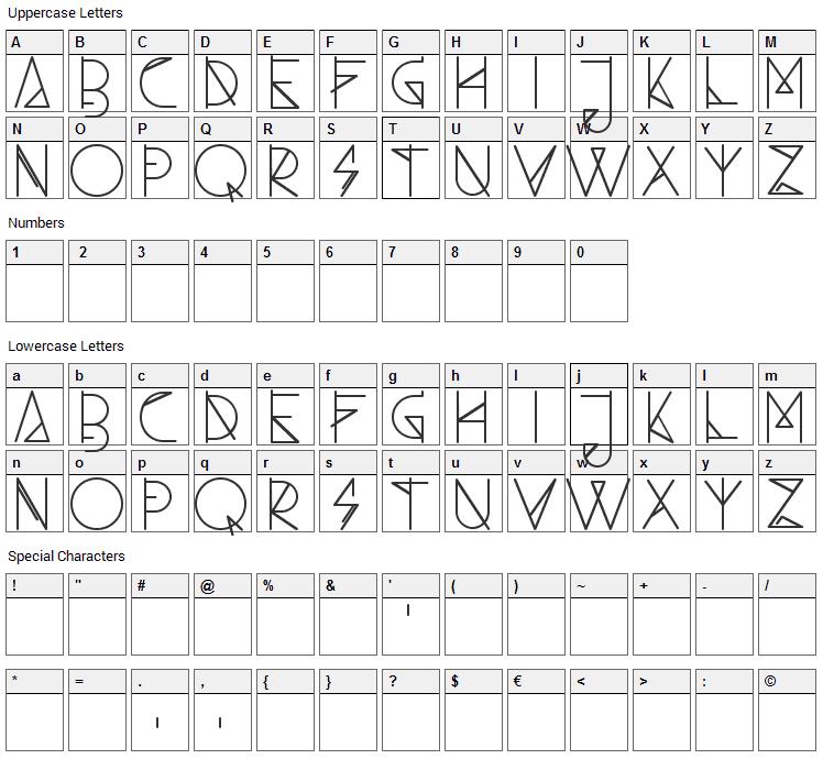 Ambo Font Character Map