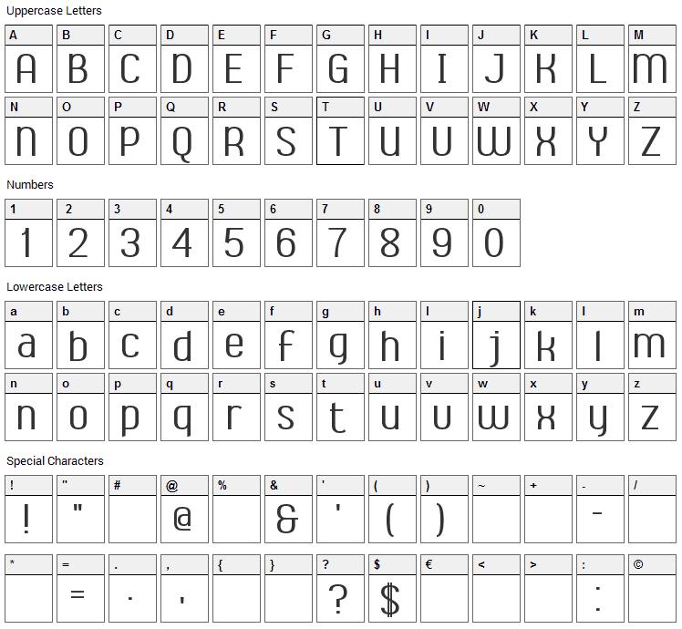 Ambrosia Font Character Map