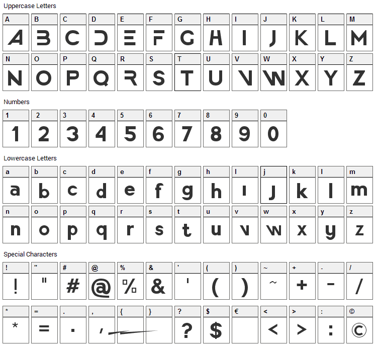 America Faster Font Character Map