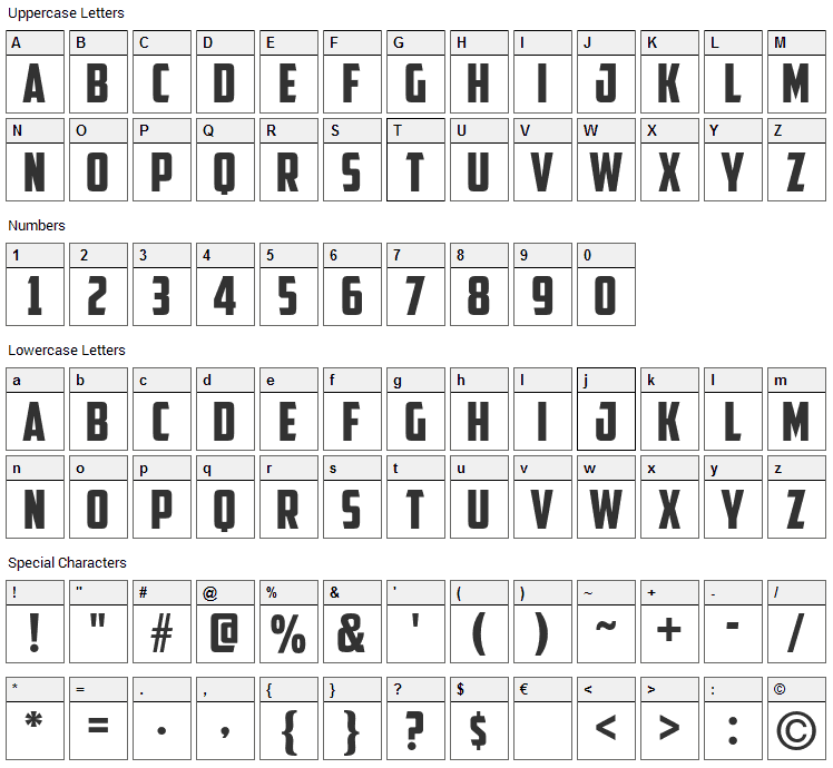 American Captain Font Character Map