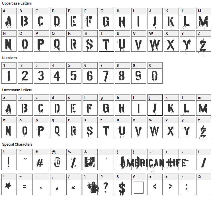 American Life Font Character Map
