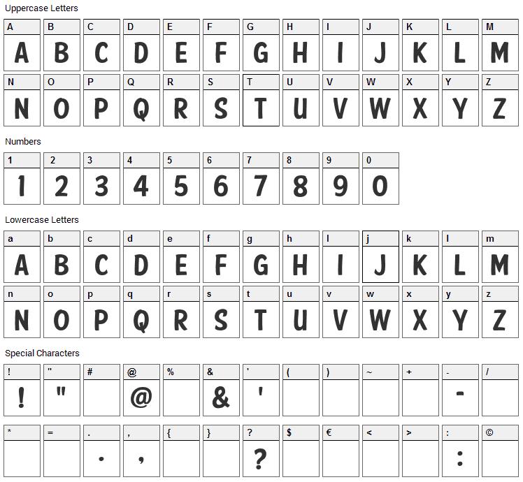 American Purpose Casual Font Character Map