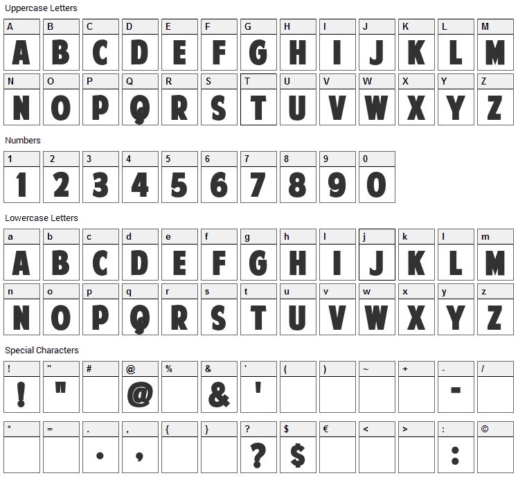 American Purpose Font Character Map