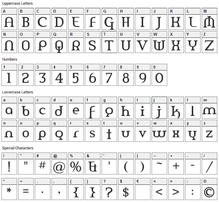 Amerika Font Character Map