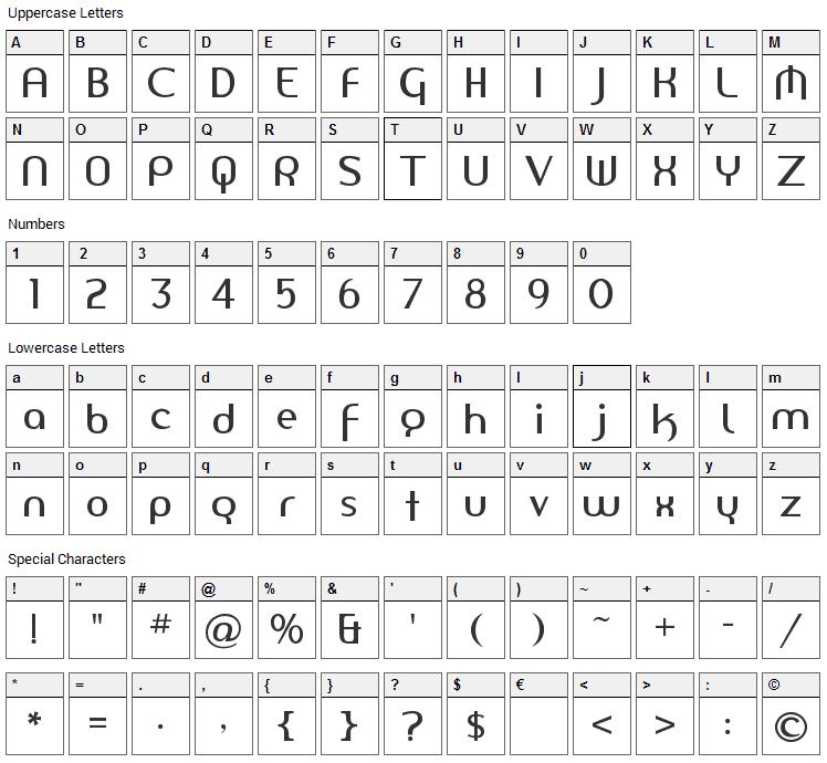 Amerika Sans Font Character Map
