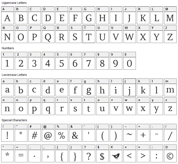 Amethysta Font Character Map