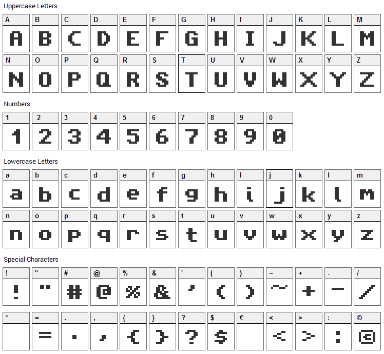 Amiga Forever Font Character Map