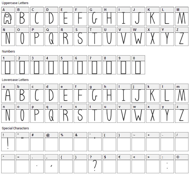 Among Us Font Character Map