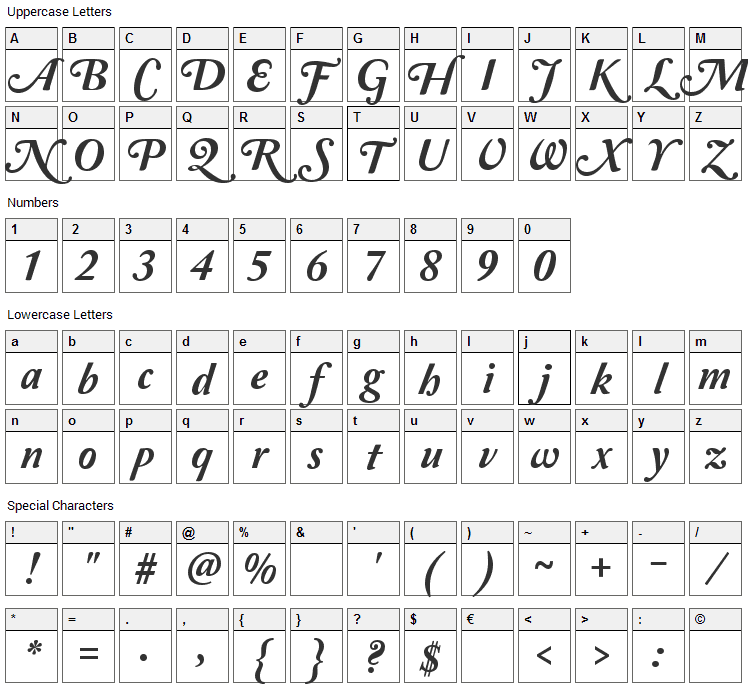 Amperzand Font Character Map