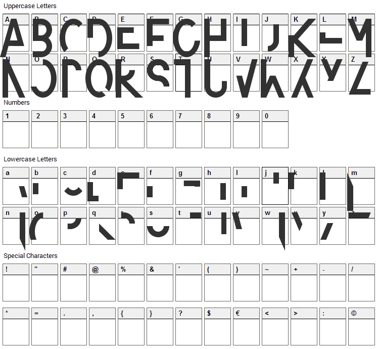 Amputierte Font Character Map