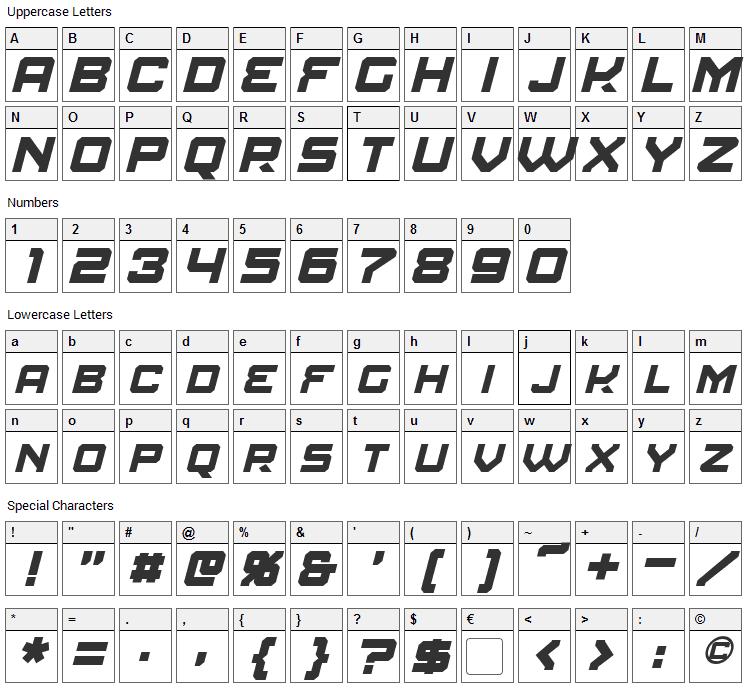 Amuro Font Character Map