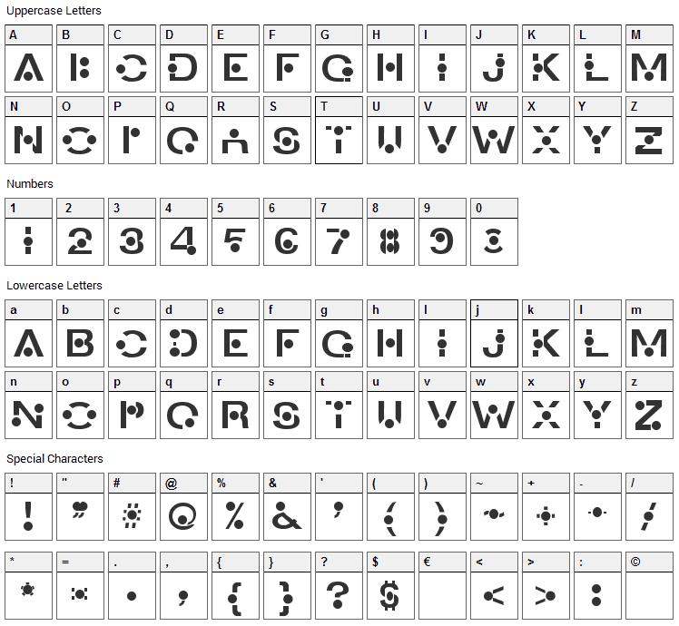 An Creon Font Character Map