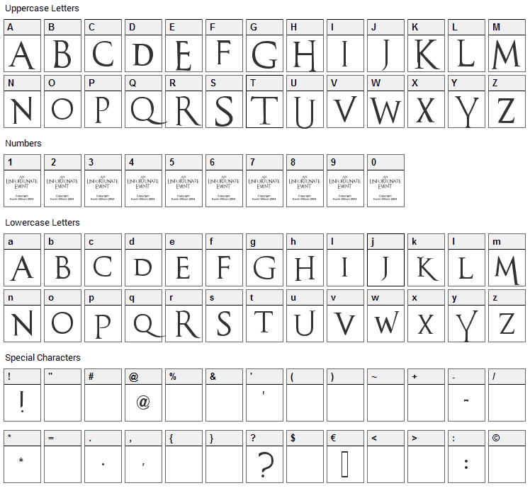 An Unfortunate Event Font Character Map