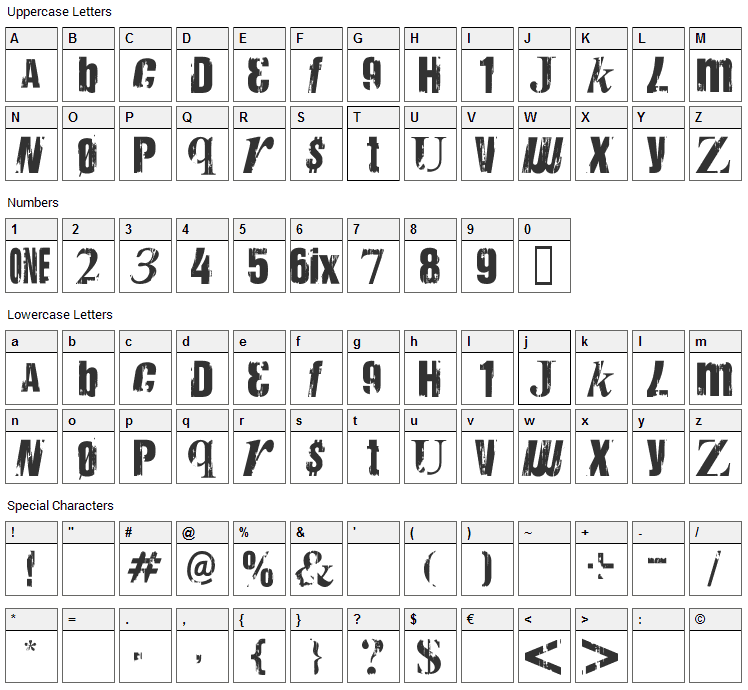 Anarchy Mh Font Character Map