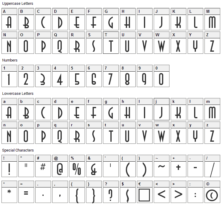 Anastasia Font Character Map