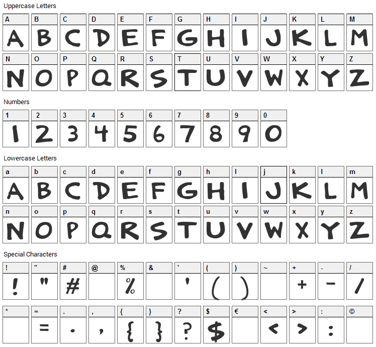 Anatolia Strong Font Character Map