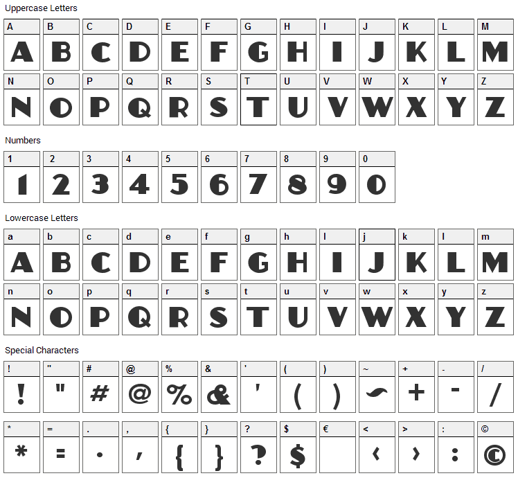Anchor Jack Font Character Map