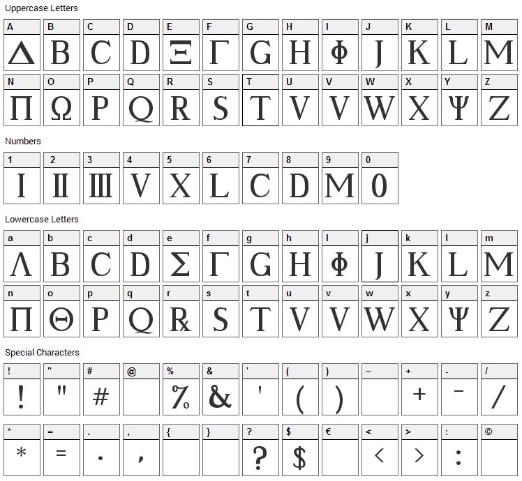 Ancient Geek Font Character Map