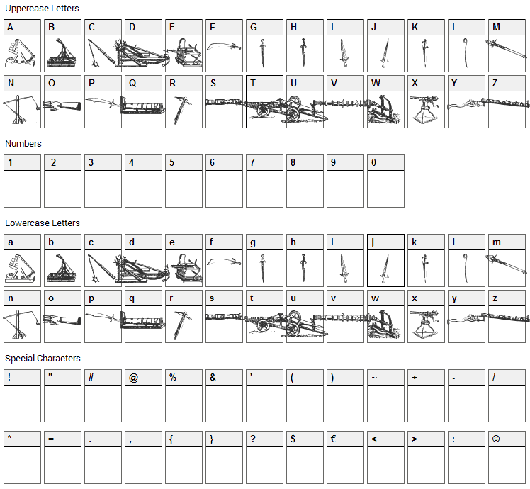 Ancient Weapons Font Character Map
