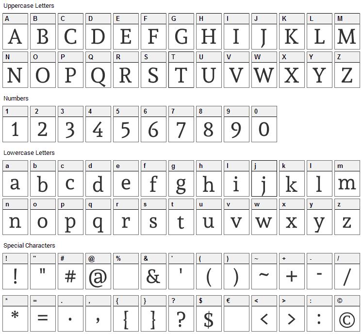 Andada Font Character Map
