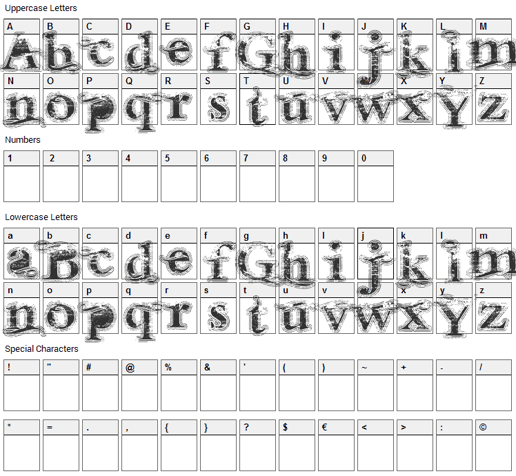 Andalusian Font Character Map