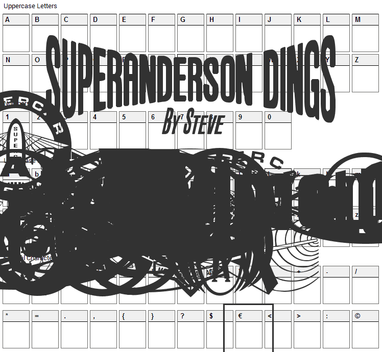 Anderson Dings 1 Font Character Map