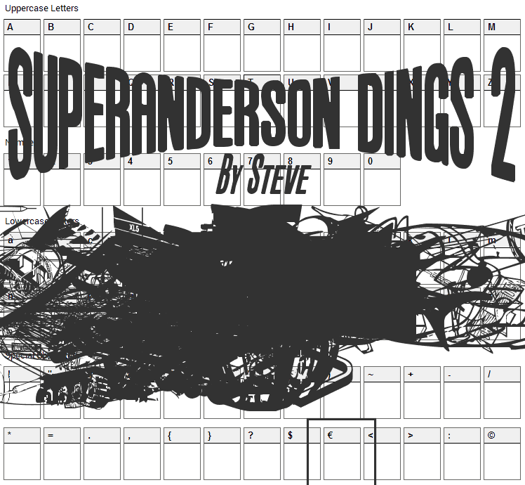 Anderson Dings 2 Font Character Map