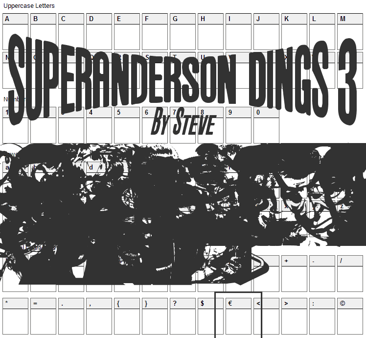 Anderson Dings 3 Font Character Map