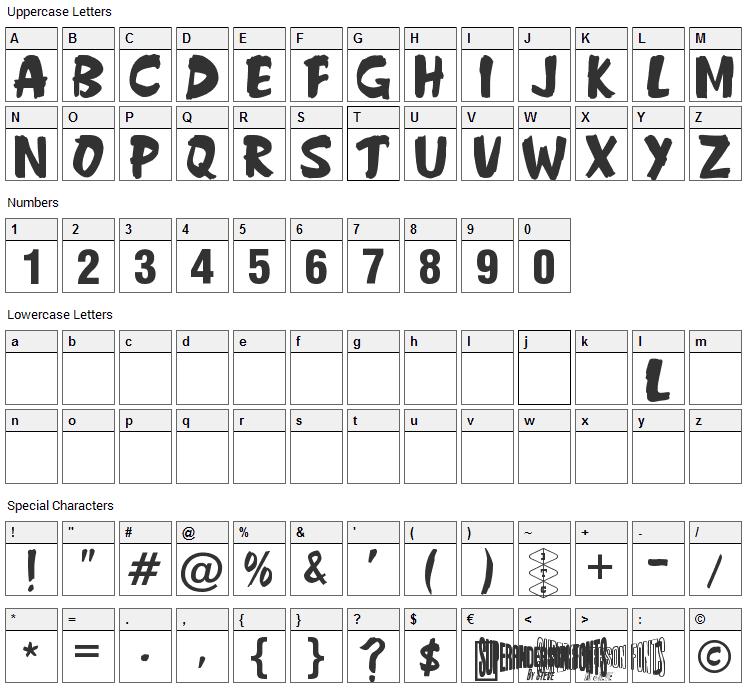 Anderson Fireball XL5 Font Character Map