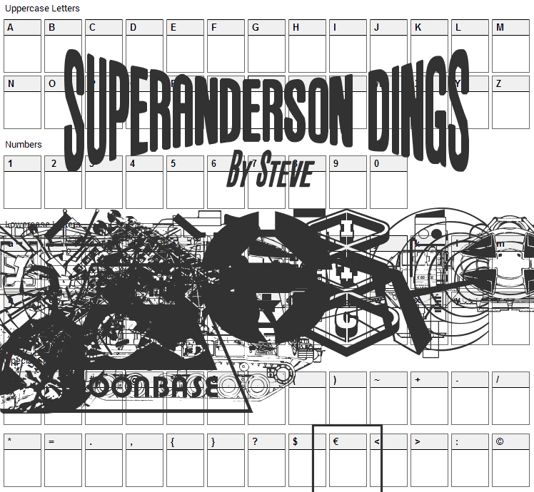Anderson Space1999 Dings Font Character Map