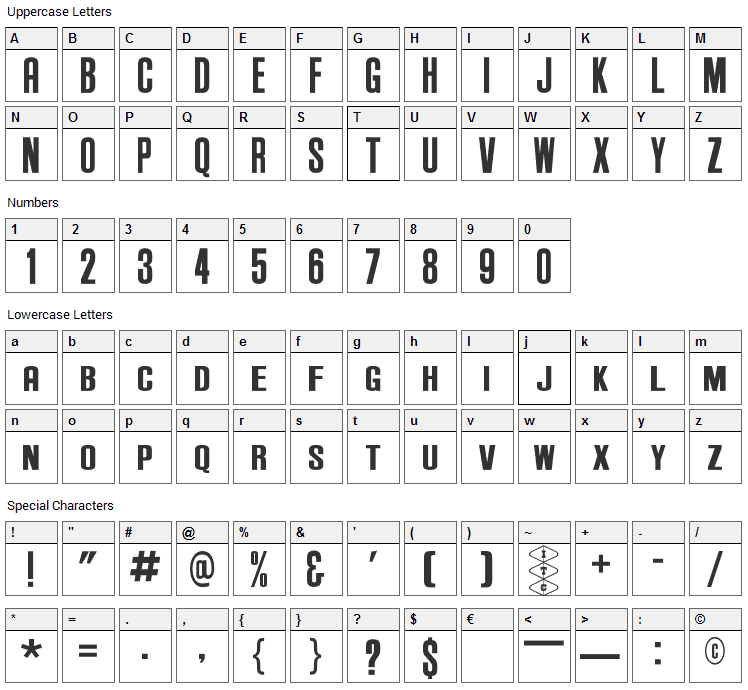 Anderson Supercar Font Character Map