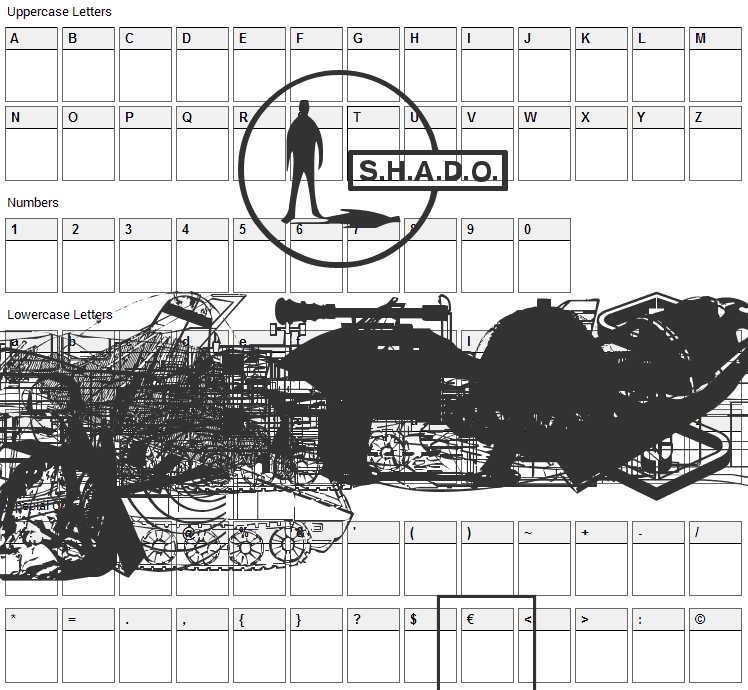 Anderson UFO Font Character Map