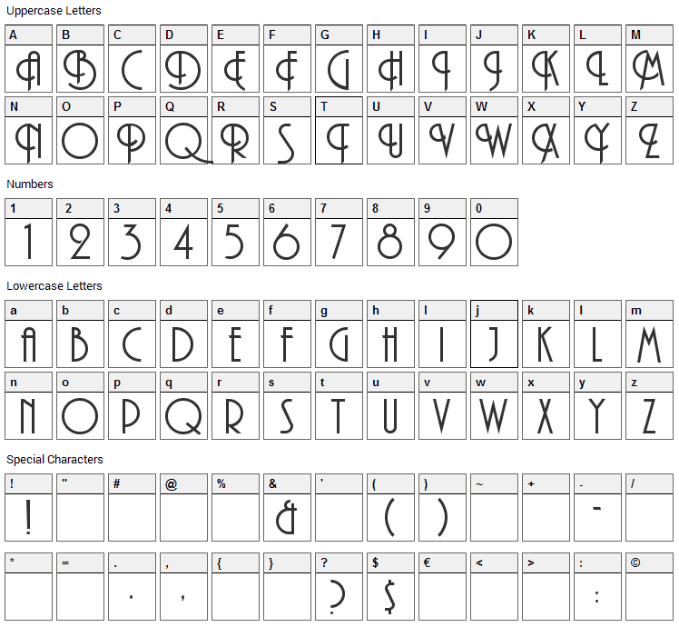 Andes Font Character Map