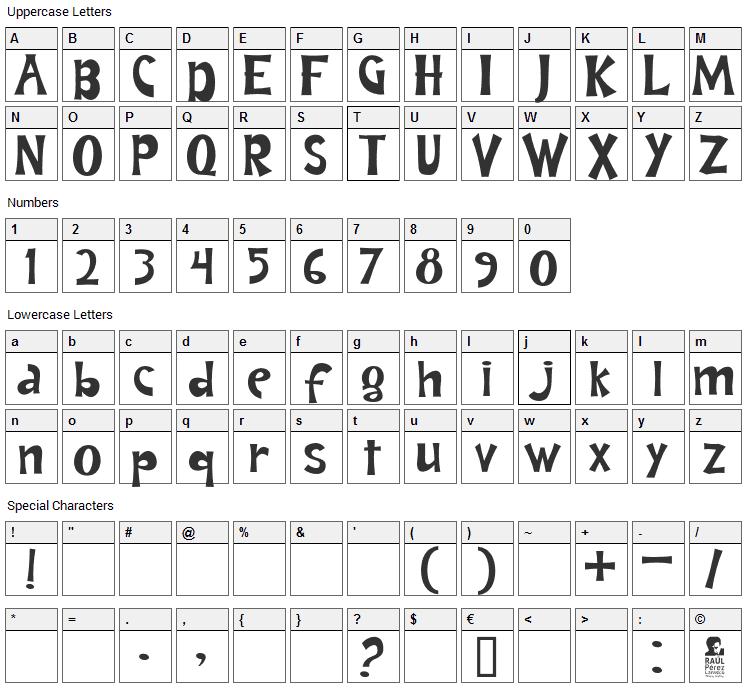 Andrea Karime Font Character Map