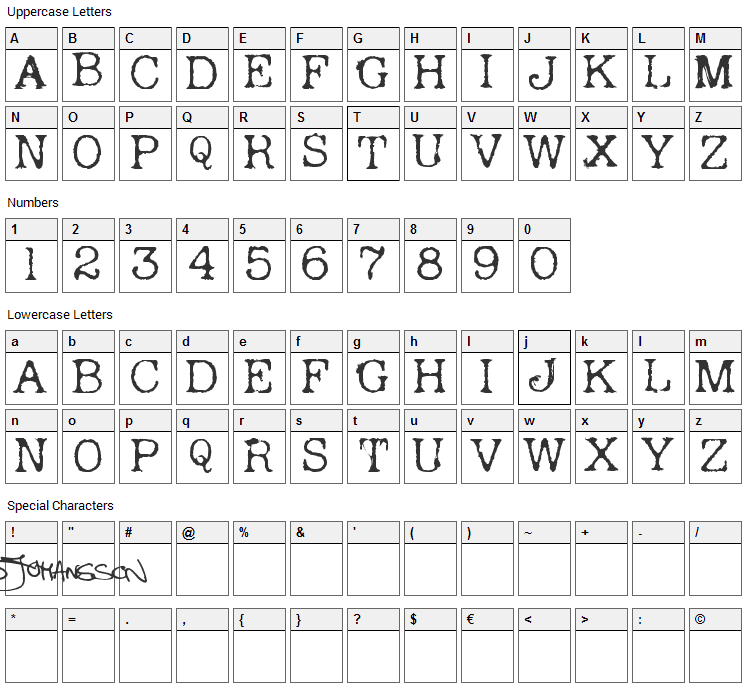 Andreas Typewriter Font Character Map