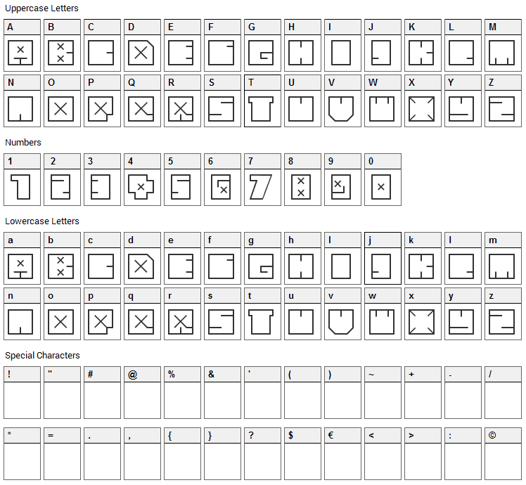 andrefist Font Character Map