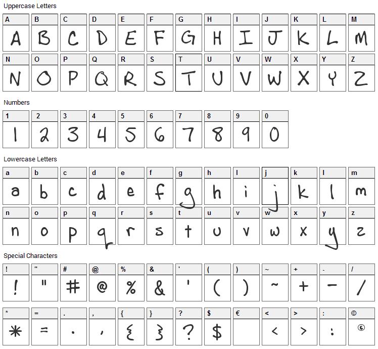 Andrew Script Font Character Map
