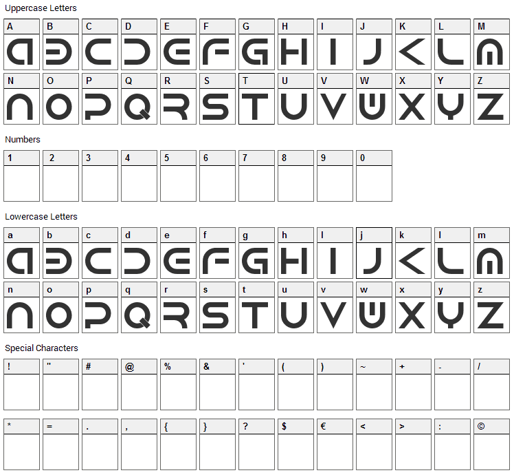 Android Font Character Map